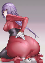 1girls artist_request ass back big_ass big_breasts boots breasts cameltoe clothed female female_only gloves human kneeling long_hair nintendo poke_ball pokemon_frlg pokemon_gsc pokemon_hgss pokemon_rgby purple_hair red_eyes sabrina_(pokemon) skin_tight source_request thick thick_ass wide_hips