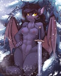 2019 anthro breasts equid equine fan_character female hair hi_res horse mammal melee_weapon my_little_pony nightskrill nipples nude pussy solo sword weapon wings
