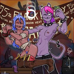 aaravi_(monster_prom) ambiguous_penetration ambiguous_species anthro bandage blue_hair boots closed_eyes clothing collar dark_skin dildo domestic_cat duo ear_piercing felid feline felis female female/female footwear fur hair handcuffs hi_res humanoid lube mammal monster_prom nipple_piercing nipples penetration phone piercing punk purple_fur qsy sex sex_toy shackles spiked_collar spikes strapon vaginal_penetration valerie_(monster_prom)