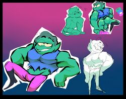 2018 alien antennae_(anatomy) ass balls boots cartoon_network clothed clothing color_swatch footwear fully_clothed green_skin grin half-closed_eyes hand_on_hip heart humanoid humanoid_penis humanoid_pointy_ears kneeling looking_at_viewer looking_away looking_back male multiple_poses muscular muscular_arms muscular_male not_furry ok_k.o.!_let's_be_heroes partially_clothed pecs penis pose radicles sharp_teeth shirt simple_background skimpy smile solo standing tank_top teeth topwear torquewintress