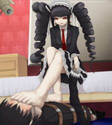 1boy 1girls bare_legs barefoot bed black_hair blush bondage celestia_ludenberg danganronpa domination drill_hair feet female femdom floor foot_fetish foot_on_face goth long_hair looking_down male malesub on_bed on_floor open_mouth pale-skinned_female pale_skin pigtails red_eyes restrained sitting skirt smell stockings suit taeko_yasuhiro thighhighs_removed tie tied_up