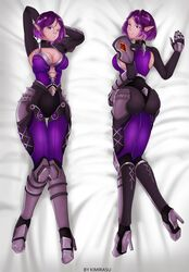 ass big_ass big_breasts body_pillow bodysuit cleavage dat_ass heels kimirasu looking_at_viewer paladins pillow pointy_ears purple_eyes purple_hair skye tight_clothing wide_hips