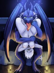 2019 anthro breasts digital_media_(artwork) dragon duo female fur gab0o0 hair horn male male/female mammal mink mustelid musteline nipples nude open_mouth penetration pussy scalie sex smile tongue tongue_out white_fur