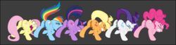 anus applejack_(mlp) ass clenched_teeth cutie_mark dogmaf equid equine female fluttershy_(mlp) friendship_is_magic grey_background group hi_res horse male mammal my_little_pony pinkie_pie_(mlp) rainbow_dash_(mlp) rarity_(mlp) rear_view scrunchy_face simple_background teeth twilight_sparkle_(mlp)
