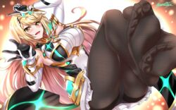 1girl absurdres armor ass bangs black_legwear blonde_hair blush breasts dress earrings elbow_gloves feet female gem gloves headpiece highres hikari_(xenoblade_2) hip_focus huge_filesize jewelry large_breasts legs long_hair looking_at_viewer mythra nez-box nez-kun nintendo no_shoes open_mouth panties pantyhose short_dress signature smile soles solo super_smash_bros. swept_bangs thighband_pantyhose thighs tiara toes underwear very_long_hair white_dress white_gloves white_panties xenoblade_(series) xenoblade_2 xenoblade_chronicles xenoblade_chronicles_2 yellow_eyes