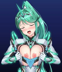1girl areolae armor blue_background blush breasts closed_eyes cum cum_on_body earrings elbow_gloves female gem gloves glowing gradient gradient_background green_hair hair_ornament headpiece jewelry large_breasts naughty_face nintendo nipples nude open_mouth pervert pneuma pneuma_(xenoblade_2) ponytail shoulder_armor solo spoilers sssemiii tiara tongue tongue_out xenoblade xenoblade_(series) xenoblade_2 xenoblade_chronicles xenoblade_chronicles_2