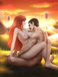 apegrixs black_hair borrowed_character breasts large_breasts long_hair moustache nami nipples nude one_piece orange_hair original outdoors sex short_hair straight sunset tagme