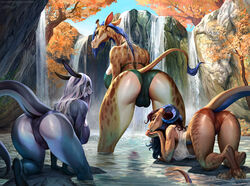 2019 anthro backsack balls blue_hair bonifasko brown_hair camel_toe curved_horn dickgirl digital_media_(artwork) dragon female furry giraffe giraffid group hair horn intersex kangaroo looking_back macropod mammal marsupial outside partially_submerged rock smile tree water waterfall white_hair