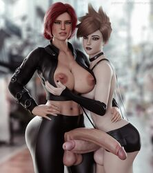 2futas 3d areolae ass balls big_ass big_balls big_breasts big_penis black_fingernails black_lipstick breast_size_difference breasts brown_hair bun curvy dickgirl erection exposed_breasts exposed_penis eyeshadow freckles futa_with_futa futanari green_eyes half_nude hand_on_breast hotpants huge_balls huge_breasts huge_cock huge_penis hugging large_breasts large_penis leather long_penis looking_at_viewer milf nipples overwatch penis penis_size_difference red_hair short_hair skintight standing stevencarson testicles the_witcher thick_penis tight_clothing tracer triss_merigold veiny_penis wide_hips