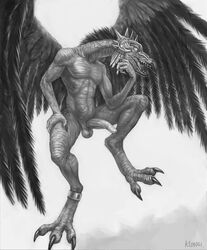 2016 abs absurd_res anthro avian balls beak bird chaos claws demon erection feathered_wings feathers hi_res humanoid_penis jewelry klongi lord_of_change male monochrome nude open_beak open_mouth pecs penis sharp_teeth solo spread_wings talons teeth toothed_beak tzeentch warhammer_(franchise) wings