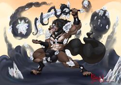 2019 3_toes 5_fingers abs anthro biceps black_hair black_nose blizzard_entertainment blue_eyes body_hair canid canine chest_hair clothing digitigrade fingerpads glowing glowing_eyes hair hi_res hungothenomster magic male mammal mane melee_weapon mostly_nude muscular muscular_male muscular_thighs nipples pecs penis_shaped_bulge ring sharp_teeth solo sword teeth tight_underwear toes underwear video_games warcraft weapon were werecanid werecanine werewolf worgen