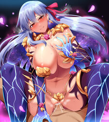 1boy absurdres areola_slip areolae armor bare_shoulders bikini_armor blush breasts cowgirl_position cum cum_in_pussy earrings elbow_gloves eyebrows_visible_through_hair fate/grand_order fate_(series) female gloves hair_between_eyes hair_ribbon highres huge_breasts jewelry kama_(fate/grand_order) long_hair looking_at_viewer overflow parted_lips penis pov_crotch purple_legwear pussy red_eyes red_ribbon revealing_clothes ribbon self_fondle sex silver_hair smile solo_focus spread_legs straddling straight sweat thighhighs umakatsuhai vaginal_penetration