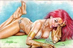 1girls 2016 arm_band arm_bands big_breasts bikini blue_eyeshadow bra bracer bracers breasts brown_gloves busty chainmail_bikini chainmail_bra chainmail_panties cleavage conan_the_barbarian curvaceous curvy dated dynamite_comics erect_nipples eyeshadow feet feet_up female female_only gloves green_eyes hand_in_hair human jun_de_felipe leather_gloves long_hair lying_on_stomach metal_bikini metal_bra metal_underwear nipples panties pink_nipples pinup red_hair red_hair red_sonja red_sonja_(comics) signature solo thick_thighs thighs voluptuous wardrobe_malfunction warrior
