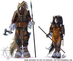 2014 5_fingers abs anthro armor axe biped black_hair black_hooves black_tail blonde_hair blue_eyes breasts brown_fur clothed clothing digital_media_(artwork) duo equid equine female front_view fur greaves green_eyes grey_hooves hair hatchet holding_object holding_weapon hooves horse larger_anthro larger_male leather leather_armor loincloth long_hair long_tail looking_at_viewer male mammal melee_weapon multicolored_fur muscular muscular_male navel pauldron polearm pussy satchel signature simple_background size_difference smaller_anthro smaller_female spear standing stasis_delirium tattoo two_tone_fur vambraces watermark weapon white_background white_fur yellow_tail