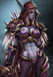abs blizzard_entertainment blue_skin clothed dandon_fuga elf pointy_ears red_eyes sylvanas_windrunner tagme undead warcraft world_of_warcraft