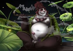 2019 anthro balls belly black_fur blizzard_entertainment blush clothing erection fundoshi fur hi_res japanese_clothing male male_only mammal marazhu moobs navel night nipples outside overweight overweight_male pandaren penis robe sitting solo solo_male st.boogie underwear ursid video_games warcraft water white_fur
