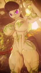 2019 3d_(artwork) abs absurd_res anthro anthrofied areola big_breasts black_hair breasts dashie116 digital_media_(artwork) equid equine female flexing friendship_is_magic hair hi_res horse jungle mammal muscular muscular_female my_little_pony nipples nude octavia_(mlp) pony purple_eyes pussy solo source_filmmaker tribal