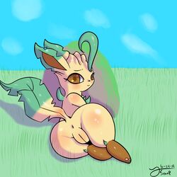 1:1 1girls 2019 absurd_res anus ass big_ass big_eyes blush brown_eyes brown_paws canine chest_tuft clitoris dated digital_media_(artwork) dipstick_ears eeveelution feet female female_only feral fur furry grass hi_res hybrid leaf leafeon looking_at_viewer looking_back lying mammal multicolored_ears multicolored_tail nature nintendo nude on_front outside paws pinup plant plump_labia pokémon_(species) pokemon pokemon_dppt pose presenting presenting_hindquarters presenting_pussy pussy raised_tail rock shy sky smile solo tan_fur text thick_thighs toony tsoup tuft video_games watermark wide_hips