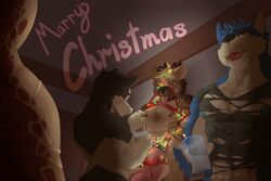 2016 3:2 anthro areola biceps black_fur black_nose blue_fur blue_nipples bodily_fluids breast_milking canid canine christmas clothing drinking_glass erection fur fur_tuft group head_tuft hi_res holidays inside lactating male male_lactation mammal milk muscular muscular_male nipple_piercing nipples one_eye_closed open_mouth pecs penis piercing pink_penis pink_tongue shirt tan_fur tongue tongue_out topwear torn_clothing torn_shirt torn_topwear tuft vein 埃亞_(artist)