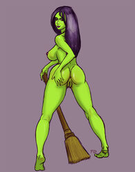 1girl anus artist_request ass banjo-kazooie barefoot big_ass big_breasts black_hair breasts broom busty curvy feet female female_only game_over_gruntilda green_skin grey_background gruntilda hairy_pussy hand_on_own_ass highres huge_ass huge_breasts large_ass large_breasts lips lipstick looking_at_viewer looking_back looking_over_shoulder mature_female medium_hair naked nipples nude posing presenting presenting_hindquarters pubes pubic_hair purple_lipstick purple_nipples pussy rareware red_eyes seductive seductive_smile sexually_suggestive shiny_hair shiny_skin sideboob signature sketch smile smiling solo standing text thick_thighs vagina video_game video_games voluptuous wide_hips witch