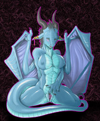 absurd_res anthro bad_dragon big_breasts blue_scales blush breasts claws clitoris dragon ear_piercing female fingering fingering_self half-closed_eyes hi_res horn janine_(bad_dragon) kneeling masturbation membrane_(anatomy) membranous_wings muscular narse nipples non-mammal_breasts nude open_mouth piercing pussy scales scalie solo spread_pussy spreading teasing vaginal_masturbation vaginal_penetration western_dragon wings yellow_eyes