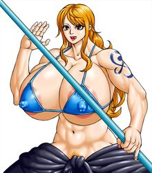 1girls areola_slip bare_shoulders big_breasts bikini bikini_top brown_eyes busty cleavage curvy erect_nipple erect_nipples eyelashes female female_only front_view hourglass_figure human long_hair looking_at_viewer midriff muscle muscular muscular_female nami negoto_(nego6) nipple_bulge one_piece open_mouth orange_hair pose posing pubes pubic_hair shiny shiny_skin solo tattoo tongue_out underboob voluptuous white_background wide_hips