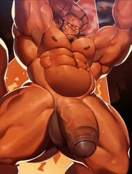 abs armpits bara barazoku big_muscles big_penis cigar demon devil dsharp_k flaccid hellboy hellboy_(character) hellboy_(series) muscles muscular_male pecs smoke sweat thick_penis thick_thighs veiny_penis