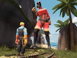 3d engineer_(team_fortress_2) fempyro giant giantess pyro team_fortress_2 valve