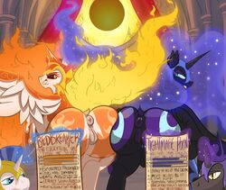 2019 absurd_res alicorn angry anus armor cutie_mark daybreaker_(mlp) english_text equid feathered_wings feathers female feral fire flaming_hair friendship_is_magic group hair headgear helmet hi_res horn looking_at_viewer looking_back magic mammal my_little_pony nightmare_moon_(mlp) poneboning presenting presenting_pussy pussy royal_guard_(mlp) solar_eclipse spread_wings text unicorn wings