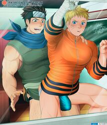 2boys age_difference bandage bandaged_arm bara big_penis blonde_hair blue_eyes blush boruto:_naruto_next_generations brown_hair bulge clothing forehead_protector from_behind from_behind_position gay grelx headband huge_cock indoors jacket large_penis male male_only muscles muscular muscular_male naruto naruto_(series) panties penis sarutobi_konohamaru scarf thick_thighs thighs uzumaki_naruto voluptuous whisker_markings whiskers yaoi yellow_hair