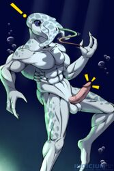 ! 2_toes 3_fingers abs anthro balls blue_eyes blue_skin bubble erection feet fingers fully_erect glans hi_res humanoid_penis invalid_tag iudicium86 male marine muscular pale_skin parasite penis pink_glans pink_penis pointy_fingers selkath shocked toes underwater vein veiny_penis water watermark worm