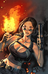 1girls artist_request backpack belt big_breasts black_belt black_shirt breasts brown_eyes brown_hair busty cleavage curvaceous curvy female female_only fire gun holding_gun holding_weapon huge_breasts human image_comics lara_croft large_breasts midriff pants pinup pistol shirt solo sunglasses tomb_raider top_cow torch voluptuous weapon