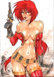 1girls 2019 abstract_background absurdly_long_hair bandana battle_chasers belly_button big_breasts big_breasts boulder bra breasts busty cleavage curvaceous curvy dated ed_benes_studio eyeshadow female female_only flintlock gloves green_eyes grey_gloves gun headband holding_gun huge_breasts human lanio_sena large_breasts leather_gloves long_hair makeup mascara midriff navel panties pinup pistol purple_lips purple_lipstick red_bra red_hair red_hair red_monika red_thighhighs rock rocks rubble ruin ruins sash signature solo standing stomach striped_bandana striped_headband striped_sash thighhighs thighs thong voluptuous white_background wildstorm yellow_panties yellow_thong
