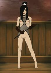 anaxus avatar_the_last_airbender barefoot black_hair bondage_outfit breasts collar female june long_gloves long_hair looking_at_viewer pussy riding_crop room smiling solo standing tagme tattoo
