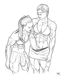 2futas abs athletic breasts closed_eyes clothed dickgirl erection flaccid futa_on_futa futa_only futanari ginny_weasley half_nude hand_on_head harry_potter hermione_granger highres huge_cock licking licking_penis line_art long_hair midriff milf muscles muscular_futanari oral pencil_(artwork) penis penis_out rookerrant sketch thick_penis traditional_media_(artwork) veiny_penis watermark