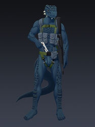 2019 anthro argonian assault_rifle balls bethesda_softworks big_balls big_penis blue_scales brown_eyes claws digital_drawing_(artwork) digital_media_(artwork) flaccid_cock gear gun handgun harness holding_object holding_weapon looking_at_viewer m16 male military nude penis pistol ranged_weapon reptile rifle scales scalie simple_background solo standing tall_lizzard_(artist) the_elder_scrolls tristen video_games weapon