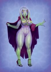 2019 abstract_background alien areola big_breasts black_nails breasts cloak clothing colored_nails derek_hetrick dungeons_and_dragons female footwear high_heels humanoid inverted_nipples long_nails mind_flayer monster mostly_nude nails navel nipples pussy robe shoes simple_background slit_pupils solo standing tentacle tentacle_monster wide_hips