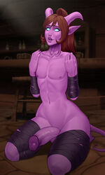 absurd_res ass balls big_butt big_penis blizzard_entertainment bondage bound brown_hair draenei hair hi_res horn huge_butt huge_cock humanoid humanoid_pointy_ears long_hair male male_focus male_only mikiron penis ponytail purple_skin smile solo tied_hair vein veiny_penis video_games warcraft