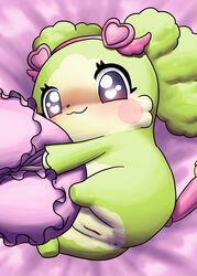 accessory alternate_version_at_source anthro anus bed_sheet bedding blush cocotama eyelashes female fur green_fur green_hair hair headband hirake!_cocotama looking_at_viewer lying main_(cocotama) mammal mostly_nude multicolored_fur pillow purple_eyes pussy solo tan_fur two_tone_fur 九尾
