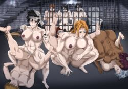 3boys 6girls amazon_position big_breasts black_hair bleach blue_eyes breasts dark-skinned_female femdom inoue_orihime kuchiki_rukia kukaku_shiba malesub mating_press matsumoto_rangiku multiple_boys multiple_girls muscular_female muscular_male nipples orange_eyes orange_hair penis purple_hair pussy rape red_hair renji_abarai reverse_amazon_position reverse_rape sex shihouin_yoruichi toshiro_hitsugaya vaginal_penetration