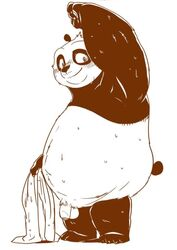 2019 anthro ass belly blush bodily_fluids dreamworks flaccid giant_panda humanoid_hands humanoid_penis kung_fu_panda male mammal moku_nameko overweight overweight_male penis po simple_background solo sweat towel ursid white_background