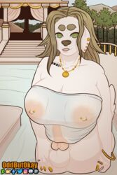 2019 2:3 5_fingers absurd_res animal_genitalia anthro balls big_breasts bracelet breasts brown_hair canid canine clothed clothing day detailed_background digital_media_(artwork) ear_piercing ear_ring erection fingers fur green_eyes gynomorph hair hi_res intersex jewelry long_hair looking_at_viewer mammal nipple_piercing nipples nude oddbutokay open_mouth outside penis piercing smile solo swimwear tongue tongue_out water wet