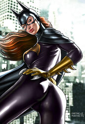 1girls ass barbara_gordon batarang batgirl batman_(series) big_ass big_breasts big_breasts birds_of_prey black_bodysuit black_cape bodysuit breasts busty cape city cityscape cowl curvaceous curvy dat_ass dc dc_comics female female_only from_behind from_below gloves gotham green_eyes holding_weapon human large_breasts long_hair mask pinup pursed_lips raffaele_marinetti red_hair red_hair red_lips red_lipstick skintight skintight_bodysuit solo standing superheroine thick_ass voluptuous weapon yellow_gloves
