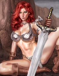 1girls belly_button big_breasts big_breasts boots bra breasts brown_boots busty chainmail_bikini chainmail_bra chainmail_panties conan_the_barbarian_(series) curvaceous curvy dynamite_comics eyeshadow female female_only green_eyes holding_sword holding_weapon human large_breasts legs_spread long_hair makeup mascara metal_bikini metal_bra metal_underwear midriff navel pinup raffaele_marinetti red_hair red_hair red_lips red_lipstick red_sonja red_sonja_(comics) sitting solo spread_legs stomach sword voluptuous warrior weapon