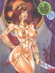 1girls a_princess_of_mars armlet athletic barely_clothed barsoom biceps big_breasts blood bottomless bracelet bracer breasts cape cosplay covered_nipples dagger daikkenaurora diadem dynamite_comics earrings eyeliner female female_focus female_only green_eyes harem_outfit jewel jewelry large_breasts lipstick long_hair navel pasties pinup red_hair red_sonja red_sonja_(comics) shoulder_pads slim_waist space sword tiara voluptuous wide_hips