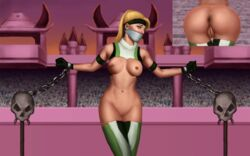 anus arena armlet ass_focus athletic bandana blonde_hair chained eyeonthedrawings gagged gloves hourglass_figure long_hair mortal_kombat muscle_tone navel panels ponytail pussy ripped_clothing sonya_blade taped_mouth thick_thighs tied vagina wide_hips