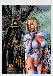 1girls autumn big_breasts big_breasts blonde_hair blonde_hair blue_eyes breasts busty cleavage corset curvaceous curvy emma_frost eyeshadow female female_only forest fur_cape fur_collar gloves hellfire_club homo_superior human large_breasts makeup marvel marvel_comics mascara mutant panties pinup plant plants red_lips red_lipstick ricardo_silva short_hair solo standing statue superheroine supervillain thighhighs thighs tree voluptuous white_corset white_gloves white_panties white_queen white_thighhighs x-men