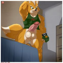 aaron_(artist) anthro balls big_balls bottomless canine clothing erection fox fox_mccloud male male_only mammal penis precum solo star_fox tank_top video_games