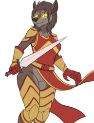 2019 anthro armor brown_fur brown_hair canid canine canis clothing evilymasterful female fur hair holding_object holding_weapon legwear looking_at_viewer mammal melee_weapon no_underwear pussy simple_background smile solo sword thigh_highs warrior weapon white_background wolf yellow_eyes