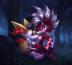 1boy 1girls 3_toes animal_genitalia animal_penis anthro anthrofied big_ears big_eyes blush bodily_fluids braixen breast_licking breasts canine canine_penis claws drooling duo eyelashes feet female forest fur genital_fluids girly grass grin half-closed_eyes hand_on_penis kneeling knot large_penis licking lycanroc male mammal midnight_lycanroc milkwyvern night nintendo nipples nude on_top orange_eyes outdoors pawpads paws penis pink_eyes pink_sclera pokémon_(species) pokemon pokemon_sm pokemon_xy precum red_eyes red_fur saliva smile straight teeth testicles text tongue tongue_out video_games watermark white_fur yellow_fur